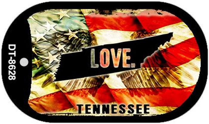 """Tennessee Love Dog Tag Kit 2"""" Metal Novelty"""