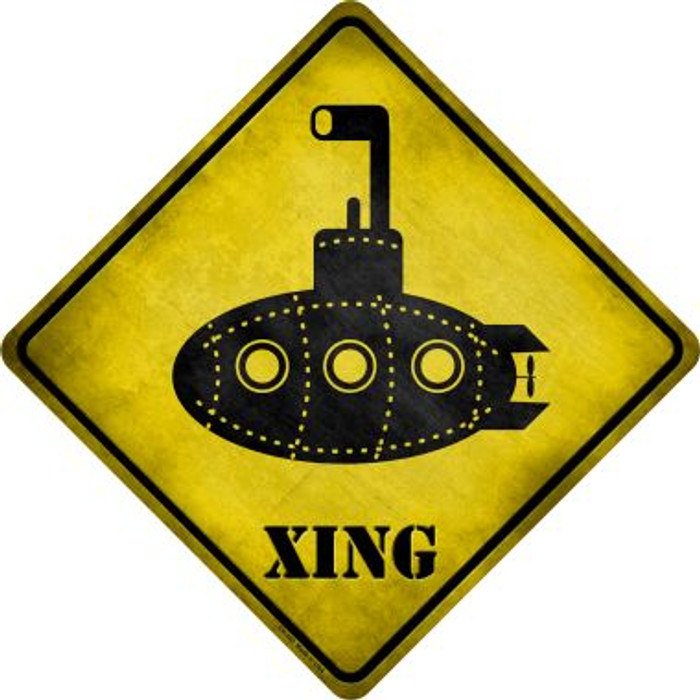 Cartoon Submarine Xing Novelty Metal Crossing Sign