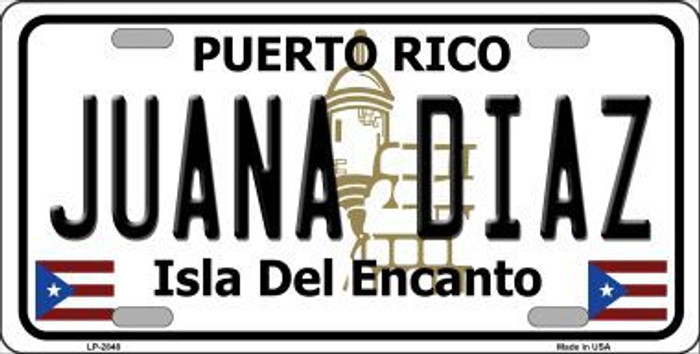 Juana Diaz Puerto Rico Metal Novelty License Plate LP-2848