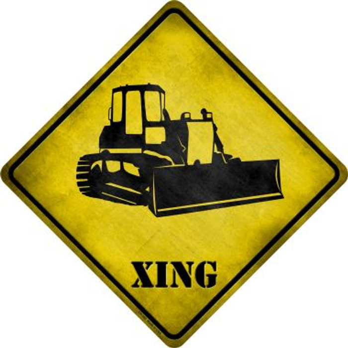 Bulldozer Xing Novelty Metal Crossing Sign