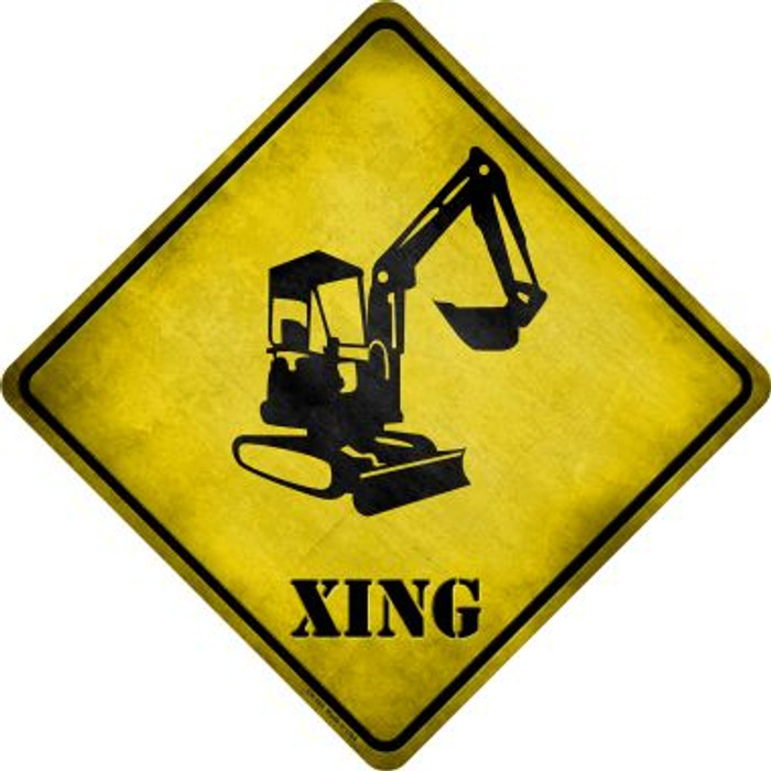 Backhoe Xing Novelty Metal Crossing Sign