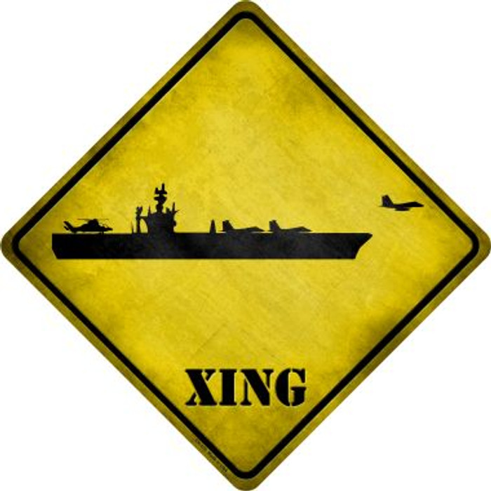 Aircraft Carrier Xing Novelty Metal Crossing Sign
