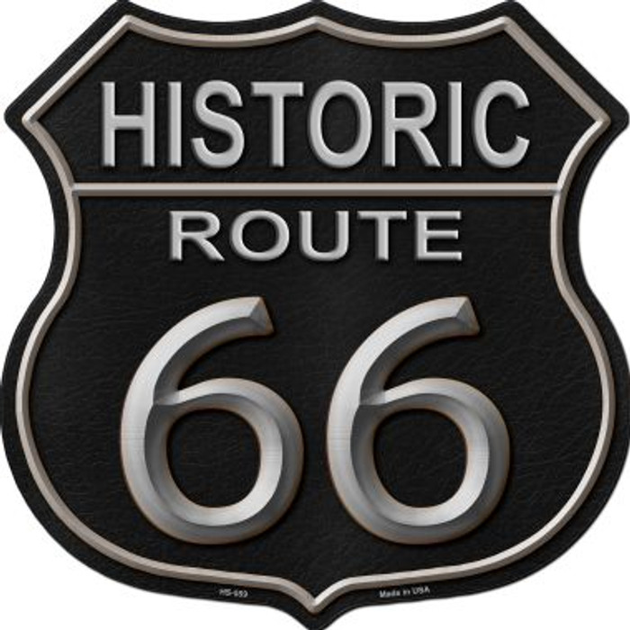 Historic Route 66 Black Leather Metal Novelty Highway Shield