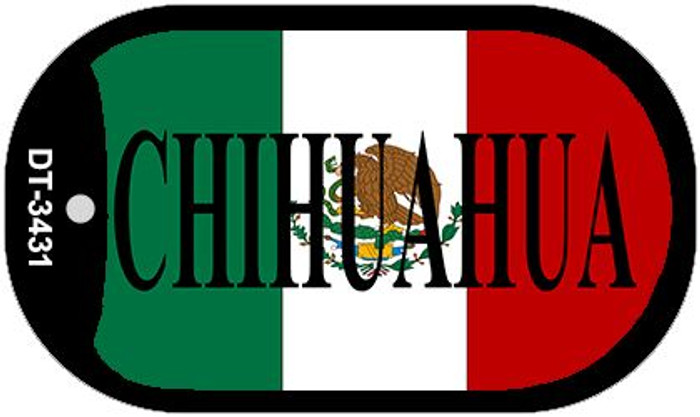 """Chihuahua Mexico Flag Dog Tag Kit 2"""" Metal Novelty Necklace"""