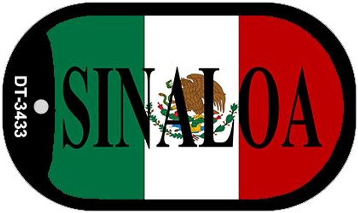"Sinaloa Mexico Flag Dog Tag Kit 2"" Metal Novelty Necklace"
