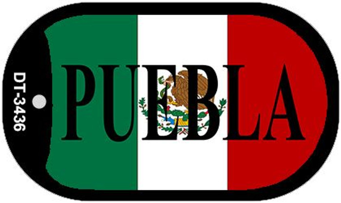 "Puebla Mexico Flag Dog Tag Kit 2"" Metal Novelty Necklace"