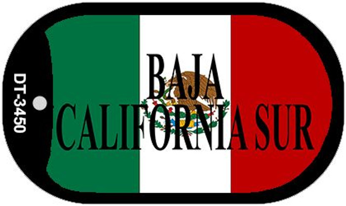 "Baja California Sur Mexico Flag Dog Tag Kit 2"" Metal Novelty Necklace"
