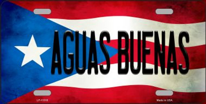 Aguas Buenas Puerto Rico Flag Background License Plate Metal Novelty LP-11318