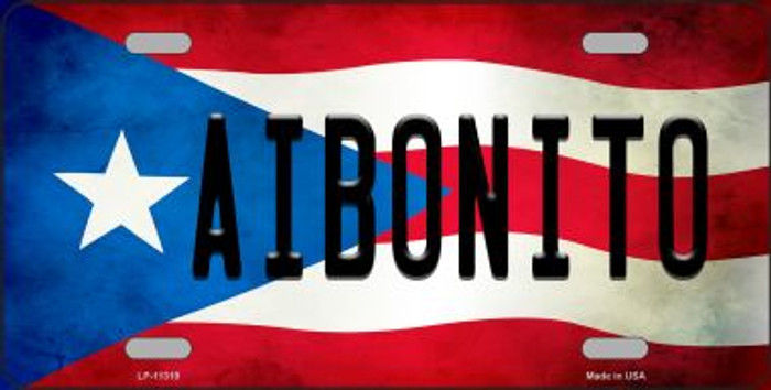 Aibonito Puerto Rico Flag Background License Plate Metal Novelty