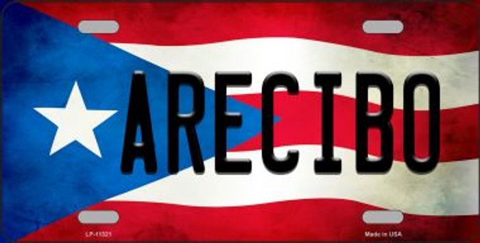 Arecibo Puerto Rico Flag Background License Plate Metal Novelty LP-11321