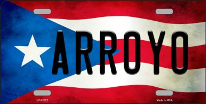 Arroyo Puerto Rico Flag Background License Plate Metal Novelty