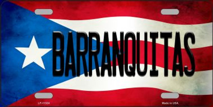 Barranquitas Puerto Rico Flag Background License Plate Metal Novelty