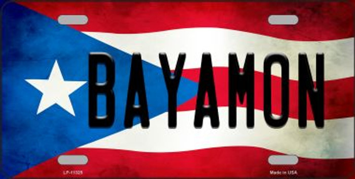 Bayamon Puerto Rico Flag Background License Plate Metal Novelty