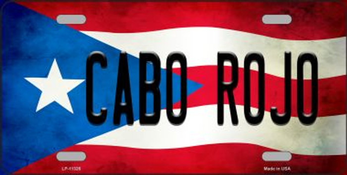 Cabo Rojo Puerto Rico Flag Background License Plate Metal Novelty