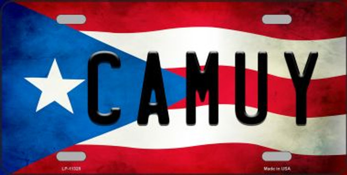 Camuy Puerto Rico Flag Background License Plate Metal Novelty