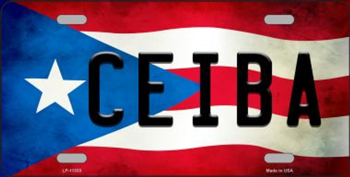 Ceiba Puerto Rico Flag Background License Plate Metal Novelty
