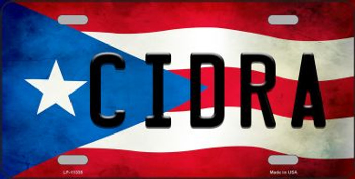 Cidra Puerto Rico Flag Background License Plate Metal Novelty