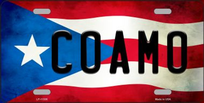Coamo Puerto Rico Flag Background License Plate Metal Novelty LP-11336