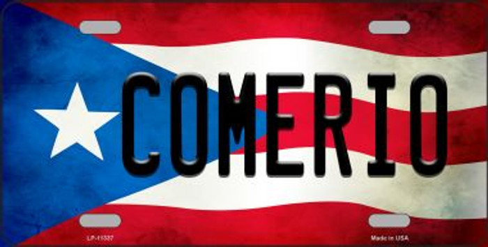 Comerio Puerto Rico Flag Background License Plate Metal Novelty