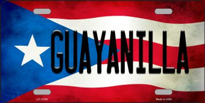 Guayanilla Puerto Rico Flag Background License Plate Metal Novelty LP-11345