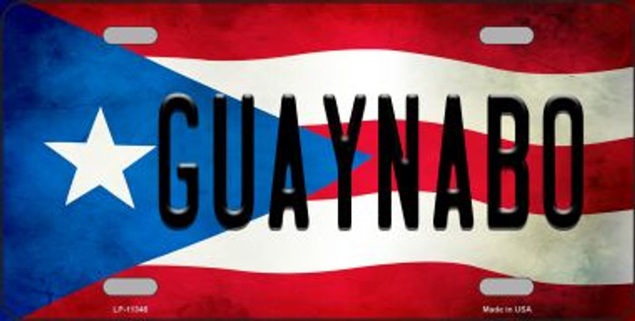 Guaynabo Puerto Rico Flag Background License Plate Metal Novelty