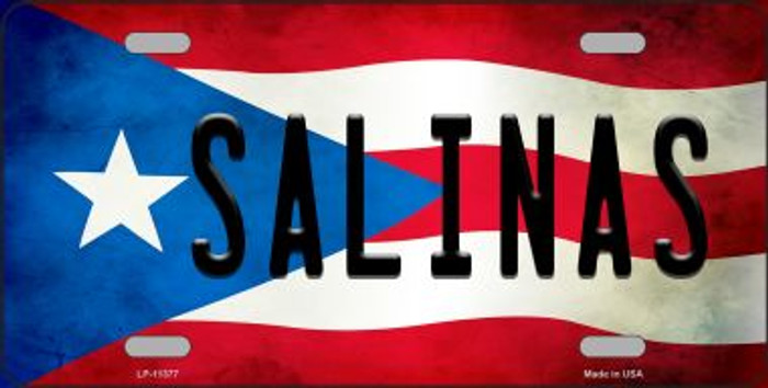 Salinas Puerto Rico Flag Background License Plate Metal Novelty