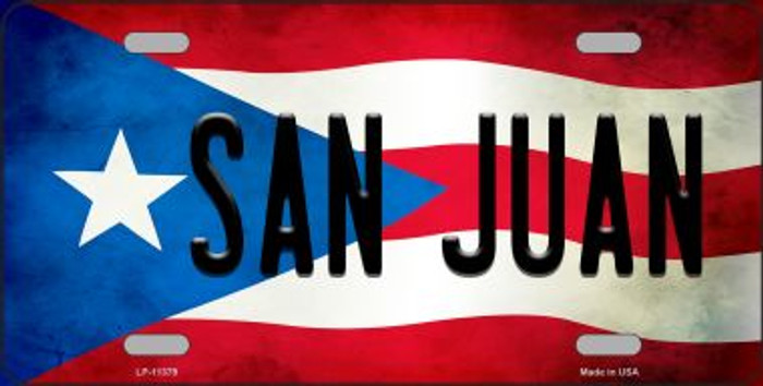San Juan Puerto Rico Flag Background License Plate Metal Novelty
