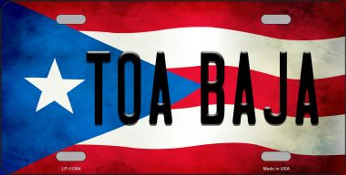 Toa Baja Puerto Rico Flag Background License Plate Metal Novelty