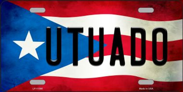 Utuado Puerto Rico Flag Background License Plate Metal Novelty