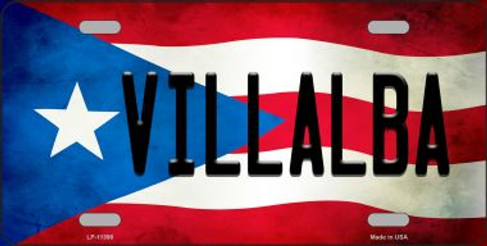 Villalba Puerto Rico Flag Background License Plate Metal Novelty