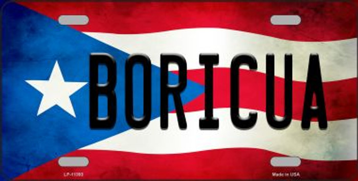 Boricua Puerto Rico Flag Background License Plate Metal Novelty