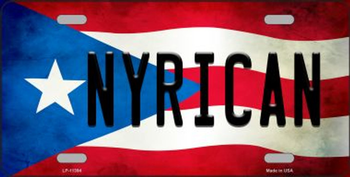 Nyrican Puerto Rico Flag Background License Plate Metal Novelty