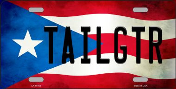 Tailgtr Puerto Rico Flag Background License Plate Metal Novelty