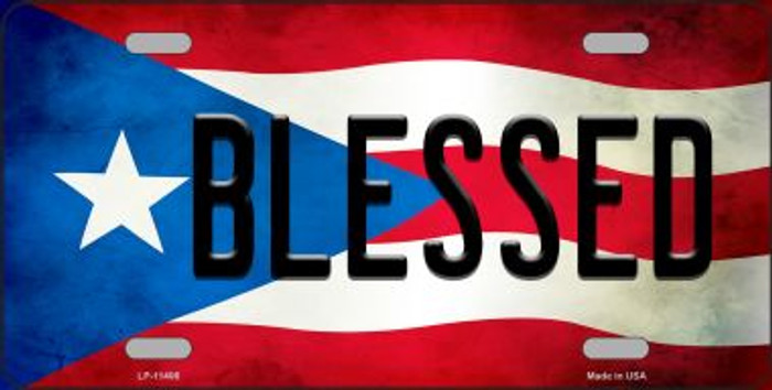 Blessed Puerto Rico Flag Background License Plate Metal Novelty