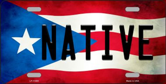 Native Puerto Rico Flag Background License Plate Metal Novelty