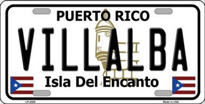 Villalba Puerto Rico Metal Novelty License Plate LP-2885