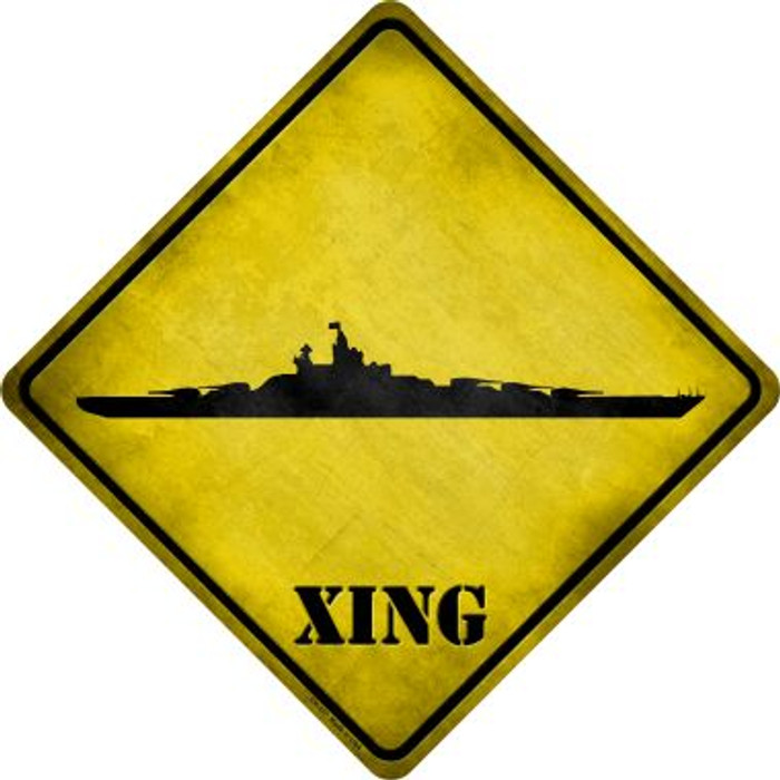 Battleship Xing Novelty Metal Crossing Sign