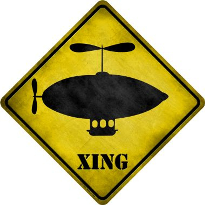 Cartoon Dirigible Xing Novelty Metal Crossing Sign