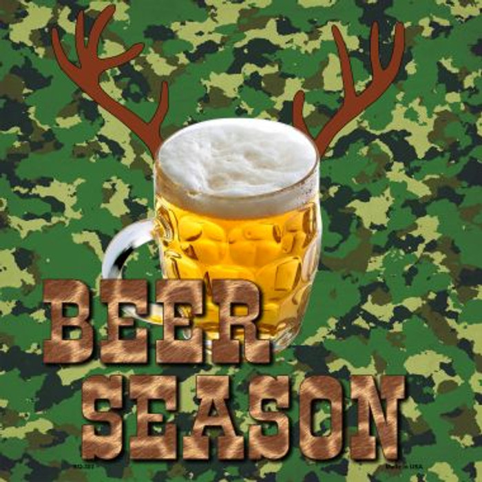Beer Season Novelty Metal Square Sign