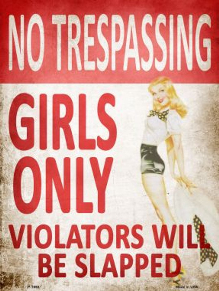 No Trespassing Girls Only Parking Sign Metal Novelty