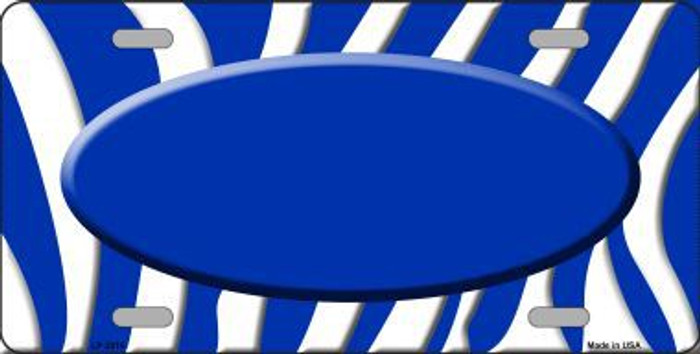 Blue White Zebra Print Blue Center Oval Metal Novelty License Plate LP-2916