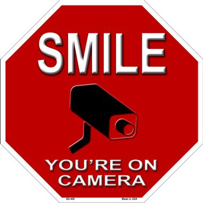 Smile You're On Camera Metal Novelty Stop Sign