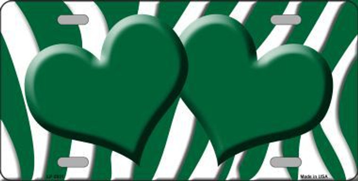 Green White Zebra Print With Green Centered Hearts Novelty License Plate LP-2931