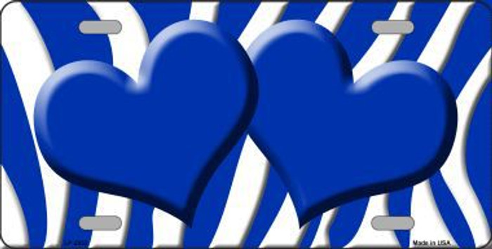 Blue White Zebra Print With Blue Centered Hearts Novelty License Plate LP-2932