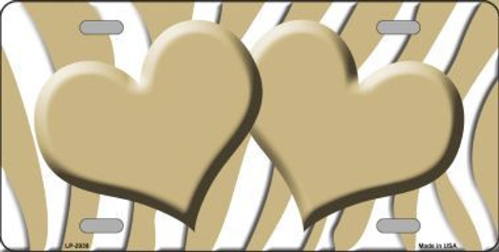 Gold White Zebra Print With Gold Centered Hearts Novelty License Plate LP-2938