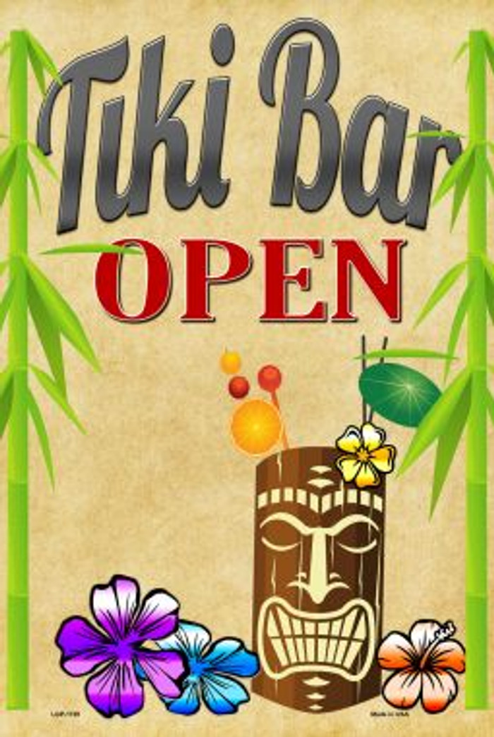 Tiki Bar Open Metal Novelty Large Parking Sign LGP-1720