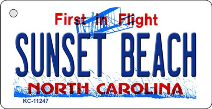 Sunset Beach North Carolina State Background Novelty Key Chain
