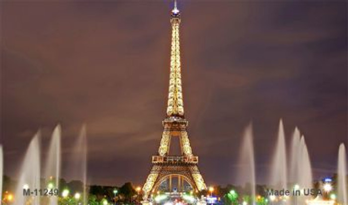 Eiffel Tower - Night With Fountain Novelty Magnet