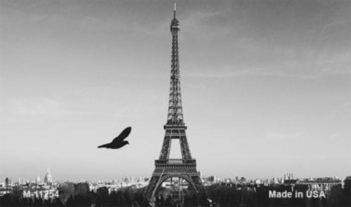Eiffel Tower - Black and White With Bird Novelty Magnet