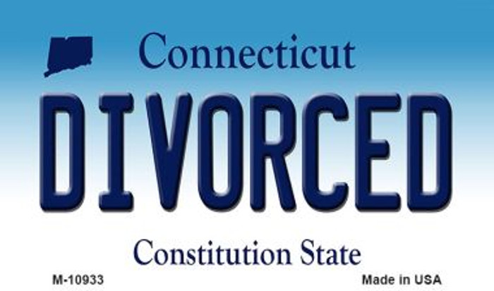 Divorced Connecticut State License Plate Magnet M-10933